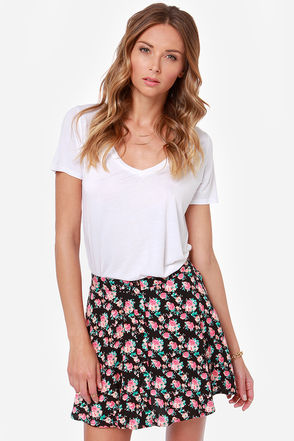 Blooming Era Black Floral Print Skirt