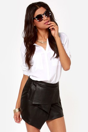 Urban Allure Black Vegan Leather Envelope Skirt