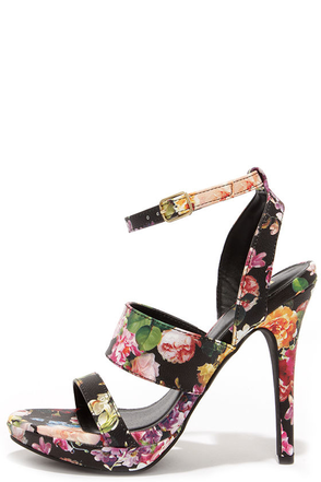 Patio Garden Black Floral Print High Heel Sandals at Lulus.com!