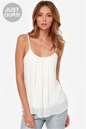 LULUS Exclusive Bel Air Baby Ivory Tank Top