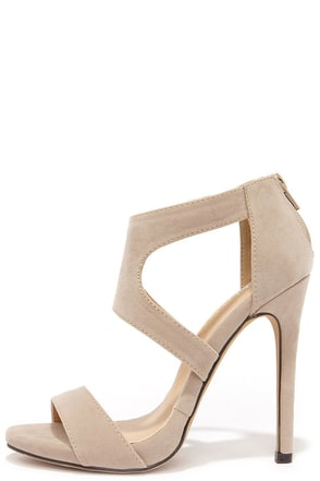 Twirl-Wind Beige Python Dress Sandals at Lulus.com!