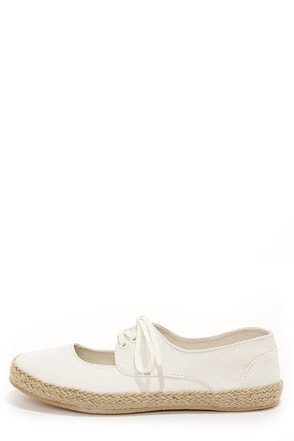 Rocket Dog Calder White Espadrille Lace-Up Flats