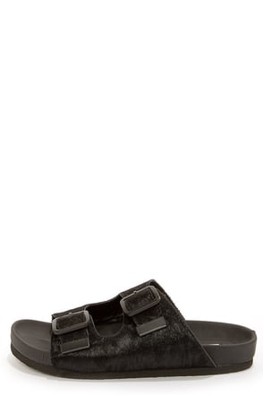 Steve Madden Boundree Black Pony Fur Sandals