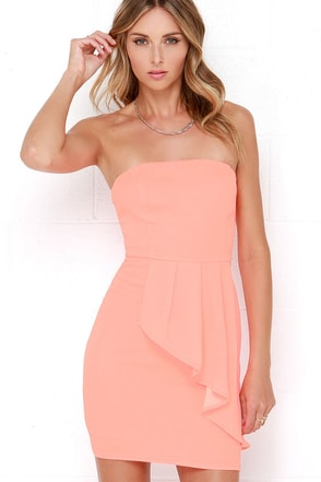 Too Hot to Trot Neon Coral Strapless Dress at Lulus.com!