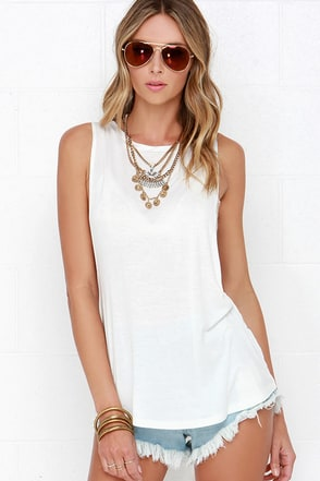 River Float Ivory Muscle Tee at Lulus.com!