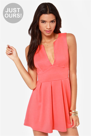 LULUS Exclusive Good Mood Coral Pink Skater Dress