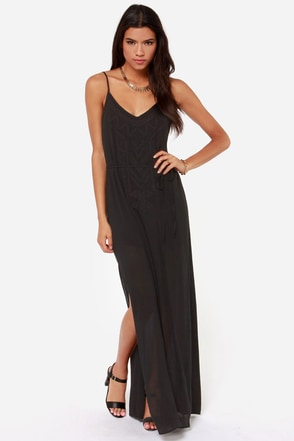 Mai Tai-ed Up Embroidered Black Maxi Dress