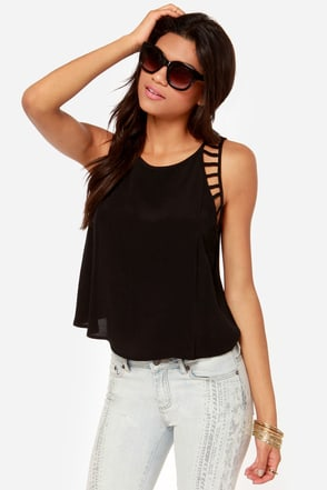 All for Love Cutout Black Top
