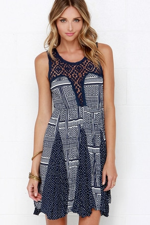 Hazel Airy Arboretum Navy Blue Print Lace Dress at Lulus.com!