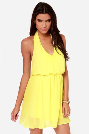 Sunshine of Your Love Yellow Halter Dress