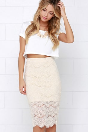 Chic Charade Beige Lace Pencil Skirt at Lulus.com!