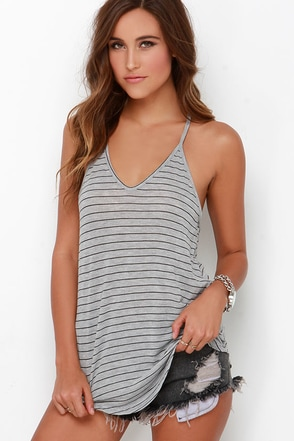 Tetherball Champ Ivory Striped Tank Top at Lulus.com!