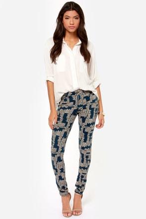 Obey Lean & Mean Dark Blue Print Skinny Pants