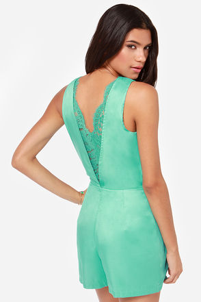 Oui Madame Mint Romper at Lulus.com!