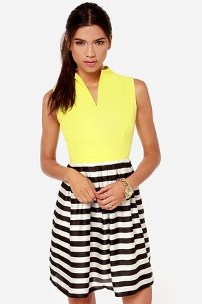 Take a Stripe at It Black, Ivory, and Yellow Dress