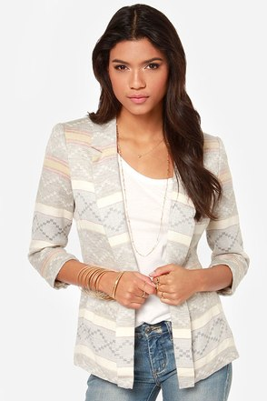 Worth a Thousand Words Grey Print Blazer