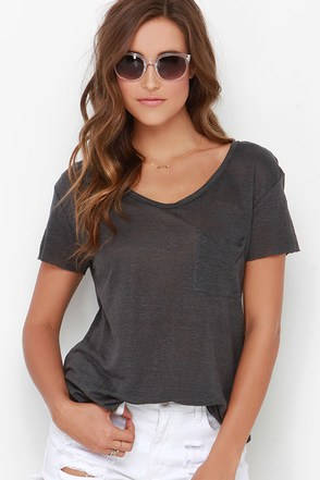 Now or Clever Dark Grey Tee at Lulus.com!