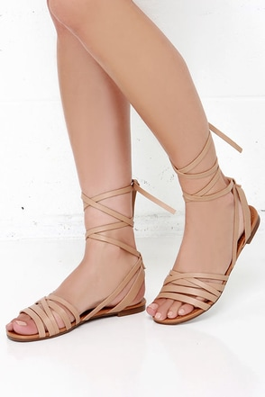 Desert Highness Natural Leg Wrap Sandals at Lulus.com!