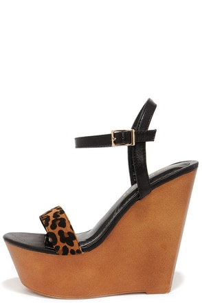 Resort Town Leopard and Black Platform Wedges at Lulus.com!