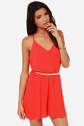 In Short Order Red Orange Romper