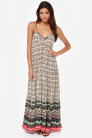 Billabong Brighter Than Black and Beige Print Maxi Dress