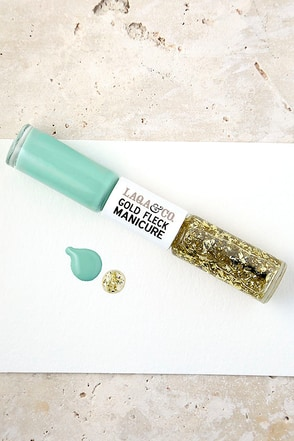 LAQA & Co. Lacey Mint Gold Fleck Manicure Duo at Lulus.com!
