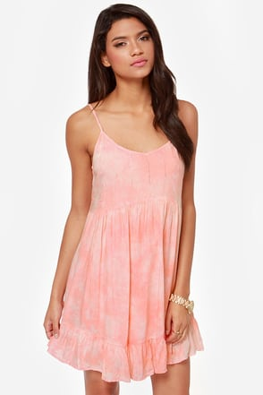 Billabong So It Goes Peach Babydoll Dress