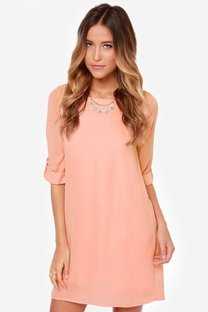 Love You More Peach Shift Dress