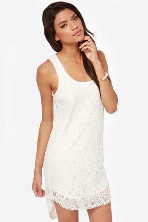 I'm Your Angel Ivory Lace Shift Dress
