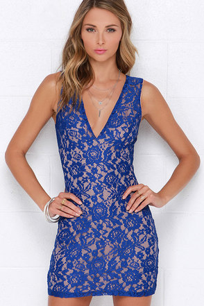 Miraculous Mirage Cobalt Blue Lace Dress at Lulus.com!