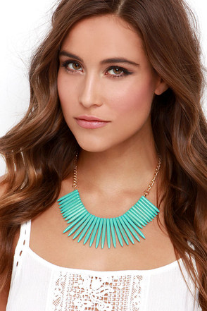 Exotic Aquatic Gold and Turquoise Necklace at Lulus.com!