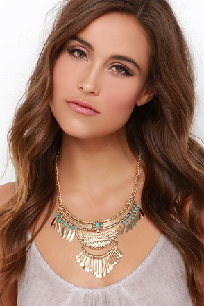 Sell Me a Spell Gold and Turquoise Necklace at Lulus.com!