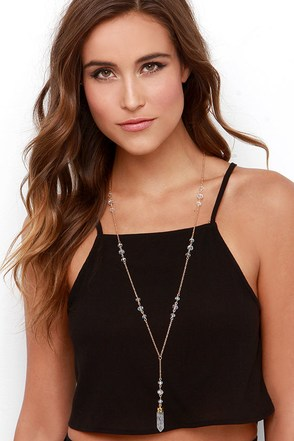 Magic Lessons Black Crystal Necklace at Lulus.com!