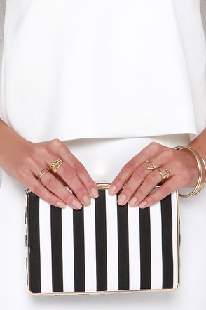 Lined by Design Ivory and Black Striped Clutch at Lulus.com!