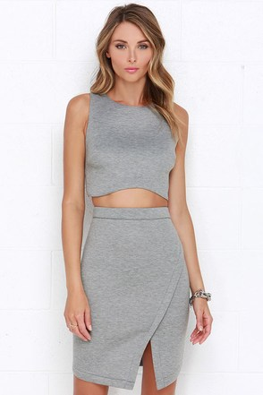 Young and Foxy Heather Grey Two-Piece Dress at Lulus.com!