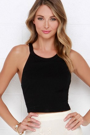 You're Swell Black Crop Top at Lulus.com!
