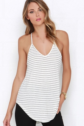 Tetherball Champ Grey Striped Tank Top at Lulus.com!