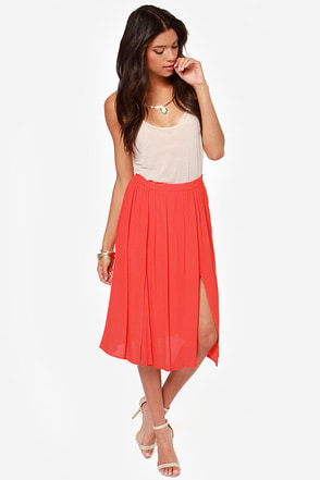 Chic Your Mind Red Midi Skirt