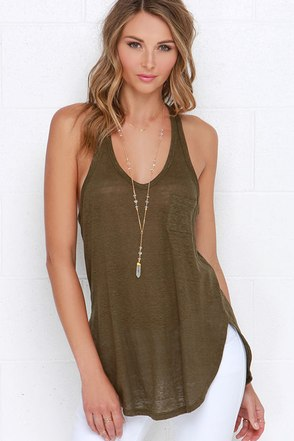 One of These Days Olive Green Tank Top at Lulus.com!