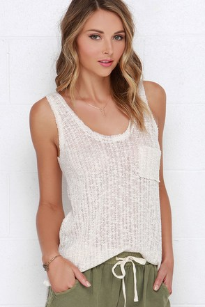 Comfy Cozy Beige Tank Top at Lulus.com!