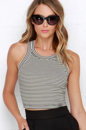 Set in Motion Black and Cream Striped Crop Top at Lulus.com!