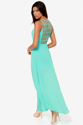 Sizzle and Pop Backless Aqua Maxi Dress