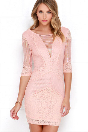 Doe a Dear Peach Lace Bodycon Dress at Lulus.com!