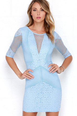 Doe a Dear Light Blue Lace Bodycon Dress at Lulus.com!