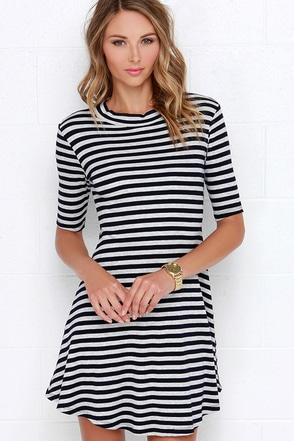 Compliment Catcher Grey and Navy Blue Striped Dress at Lulus.com!