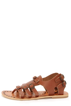 Rebels Caprice Cognac Leather Gladiator Sandals