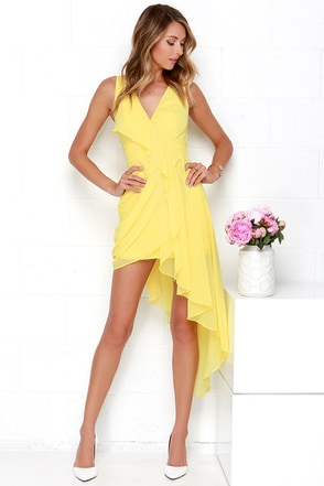 Elegant Gathering Yellow High-Low Dress at Lulus.com!