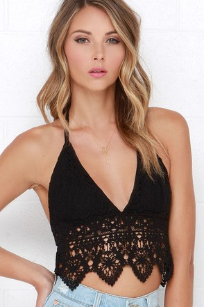 Blisscipline Black Lace Halter Crop Top at Lulus.com!