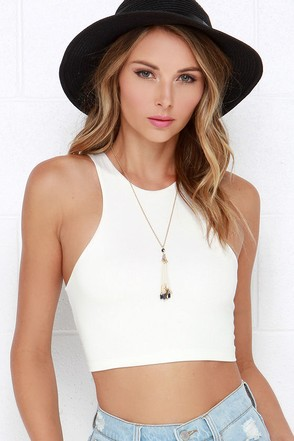 All Fired Up Black Crop Top at Lulus.com!