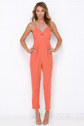 Young, Wild and Free Coral Orange Jumpsuit at Lulus.com!